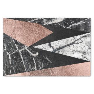 "Elegant Modern Marble, Rose Gold, & Black Triangle 10"" X 15"" Tissue Paper"