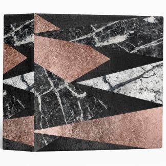 Elegant Modern Marble, Rose Gold, & Black Triangle 3 Ring Binder