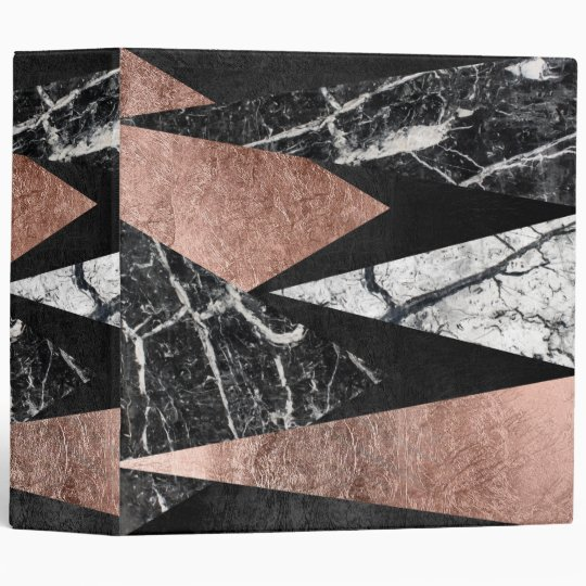 Elegant Modern Marble, Rose Gold, & Black Triangle 3 Ring