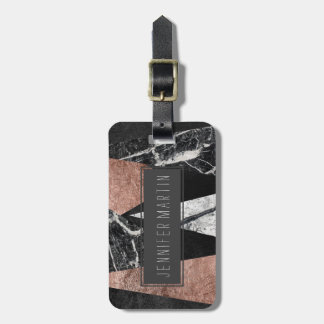 Elegant Modern Marble, Rose Gold, & Black Triangle Luggage Tag