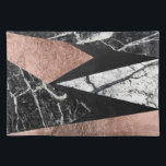 """Elegant Modern Marble, Rose Gold, &amp; Black Triangle Placemat<br><div class=""""desc"""">This elegant and modern black and white marble,  faux printed rose gold,  and black foil triangles pattern is perfect for the trendy and stylish individual. It&#39;s chic and contemporary print is great for many gifts and occasions. Enjoy this glamorous and geometric design for your next purchase!</div>"""