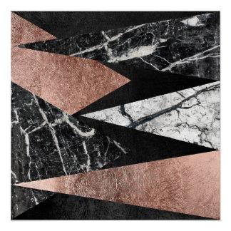 Elegant Modern Marble, Rose Gold, & Black Triangle Poster
