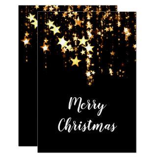elegant modern Merry Christmas gold stars Card