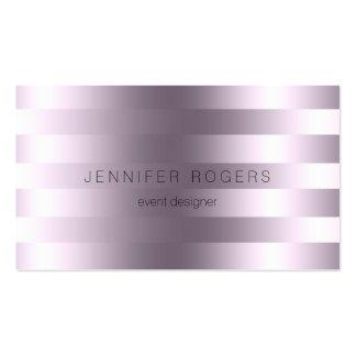Elegant Modern Metallic Purple Tint Stripes Business Cards