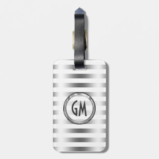 Elegant Modern Metallic Silver Stripes Luggage Tag