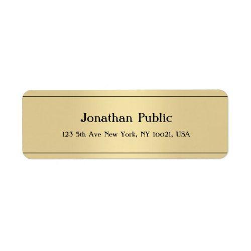 Elegant Modern Minimalist Template Gold Color Label