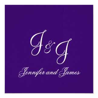 Elegant Modern Monograms Purple Wedding Invitation