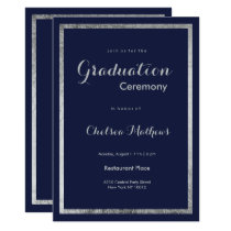 Elegant modern navy blue faux silver Graduation Card