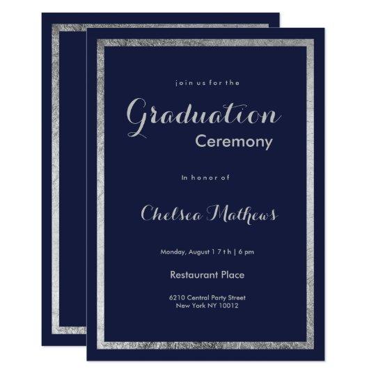 elegant modern navy blue faux silver graduation invitation zazzle com