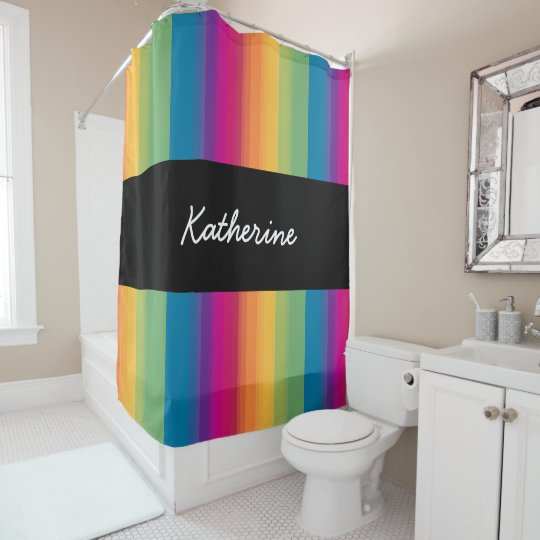 Elegant Modern Ombre Gradient Colorful Rainbow Shower Curtain