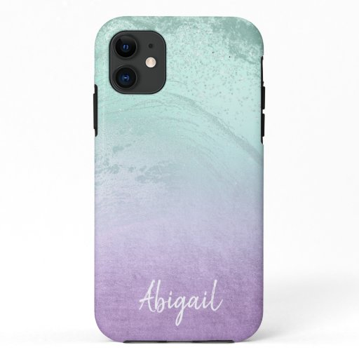Elegant modern ombre purple & mint glitter marble iPhone 11 case