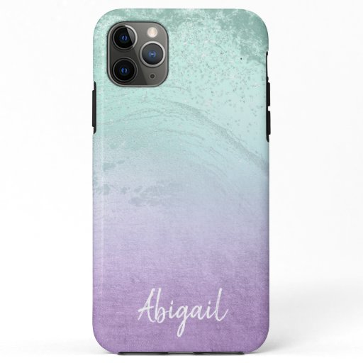 Elegant modern ombre purple & mint glitter marble iPhone 11 pro max case