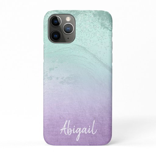 Elegant modern ombre purple & mint glitter marble iPhone 11 pro case