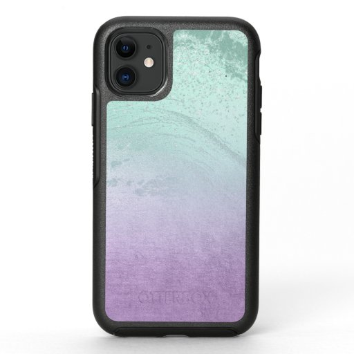 Elegant modern ombre purple & mint glitter marble OtterBox symmetry iPhone 11 case