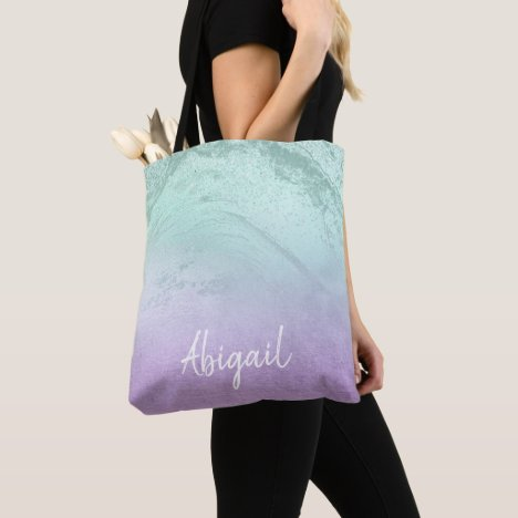 Elegant modern ombre purple & mint glitter marble tote bag
