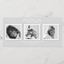 Elegant Modern Pale Gray 3 Photo Merry Christmas Holiday Card
