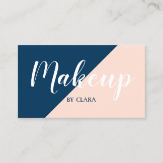 elegant modern pastel peach navy blue color block business card
