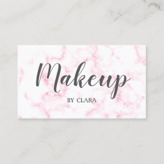 elegant modern pastel pink and white faux marble business card