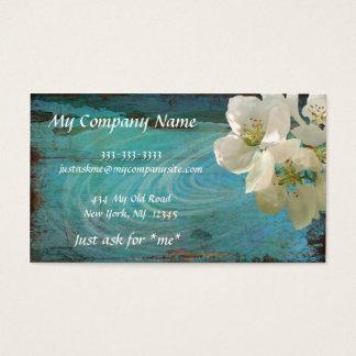 Elegant, Modern, Patina Blue Floral, Business Card
