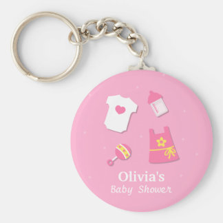 Elegant Modern Pink Baby Girl Shower Party Favors Keychain