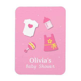 Elegant Modern Pink Baby Girl Shower Party Favors Magnet