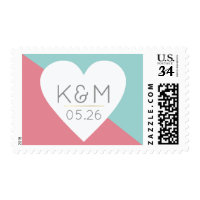 elegant modern pink blue wedding love postage