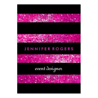 Elegant Modern Pink Glitter & Black Stripes Large Business Cards (Pack Of 100)