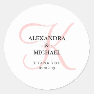 Elegant Modern Pink Monogram Wedding Classic Round Sticker