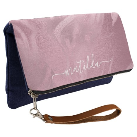 Elegant modern pink rose gold marble look clutch