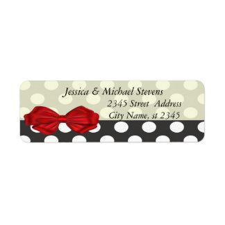 Elegant modern polka dots red bow label