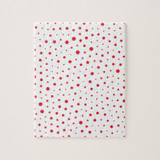 Elegant Modern Polka Dots -Red- Customize BG Jigsaw Puzzle