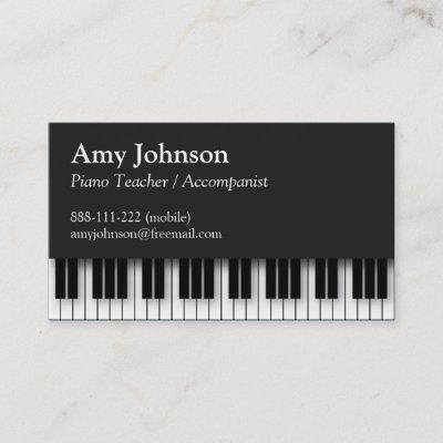 Black And White Musician Piano Business Card Zazzle