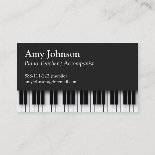 elegant modern professional piano teacher business card - Teacher Business Cards