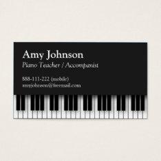 Elegant, Modern, Professional, Piano Teacher Business Card at Zazzle