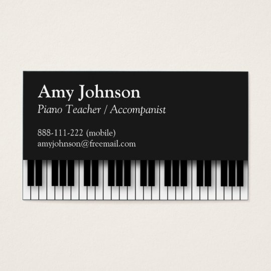 Elegant Modern Professional Piano Teacher Business Card