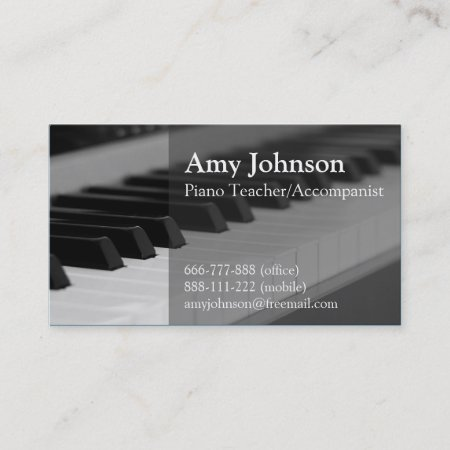 Elegant Modern Professional Piano Teacher Business Card 473408