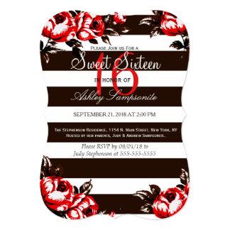 Elegant Modern Red Floral & Black & White Stripes Card