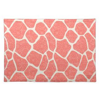 Elegant modern romantic giraffe damask place mat
