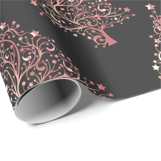 Elegant Modern Rose Gold Christmas Tree Pattern Wrapping Paper Zazzle Com