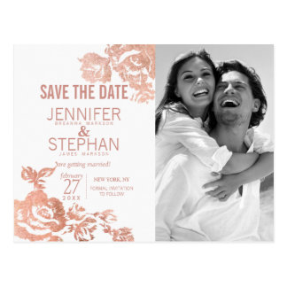 Elegant Modern Rose Gold Floral Save the Date Postcard