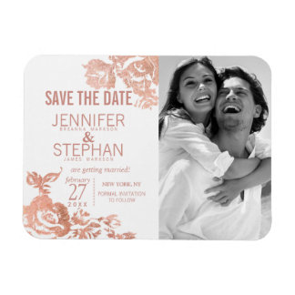 Elegant Modern Rose Gold Floral Save the Dates Magnet