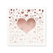 elegant modern rose gold foil hearts pattern napkin