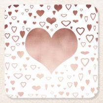 elegant modern rose gold foil hearts pattern square paper coaster