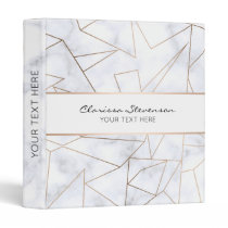 elegant modern rose gold geometric white marble binder