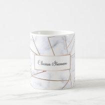 elegant modern rose gold geometric white marble coffee mug