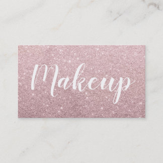 elegant modern rose gold glitter hair and makeup business card