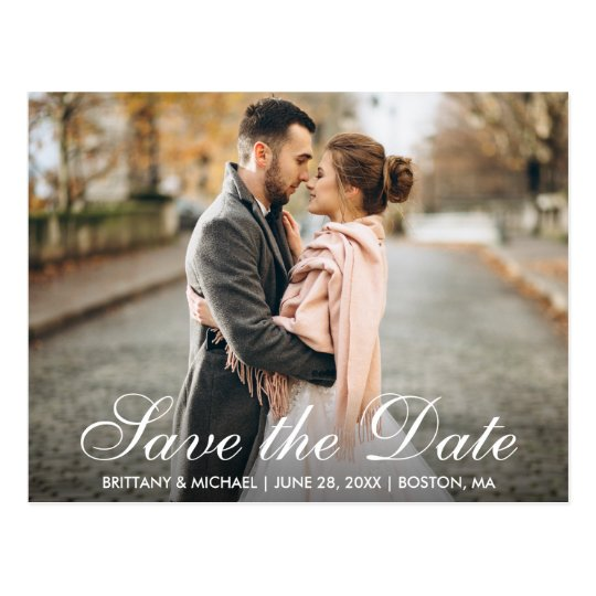 Elegant Modern Save The Date Engagement Photo Ws Postcard Zazzle Com