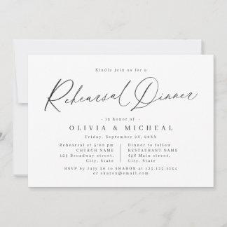 Elegant modern script minimalist rehearsal dinner  invitation
