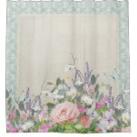 Elegant Modern Shabby Country Chic Floral Peonies Shower Curtain