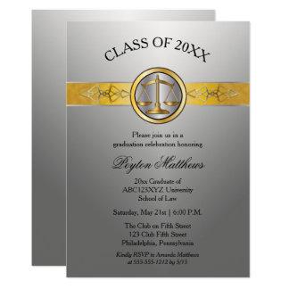 Elegant Modern Silver Law School Graduation Card